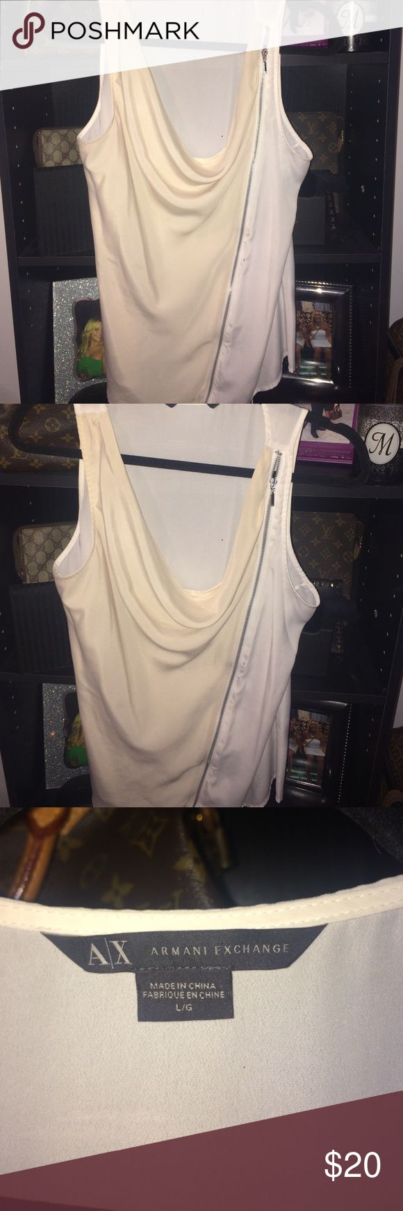 Armani exchange top Armani exchange top with zipper down the front. White and cream colored Armani Exchange Tops