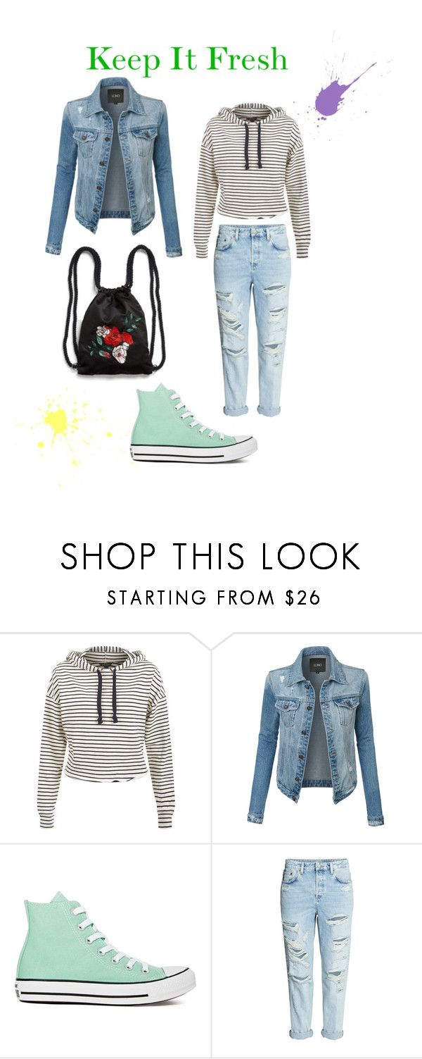 """""""Keep It Fresh"""" by sinihanna on Polyvore featuring LE3NO, Converse, Monki, Spring and converse"""