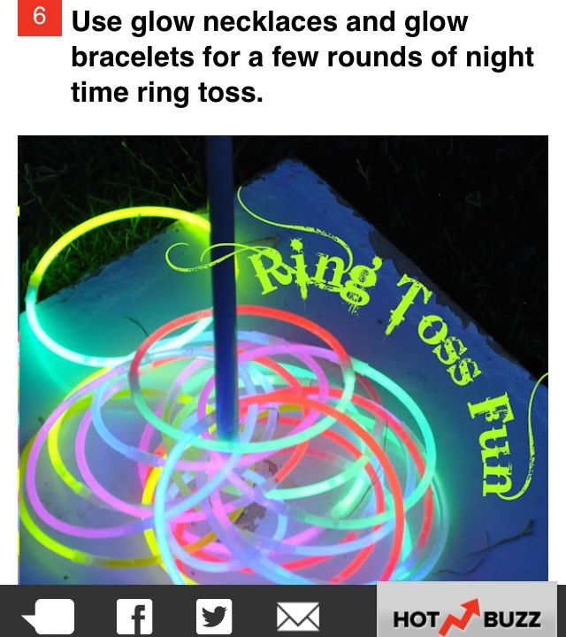 Glow necklaces for nighttime game of toss