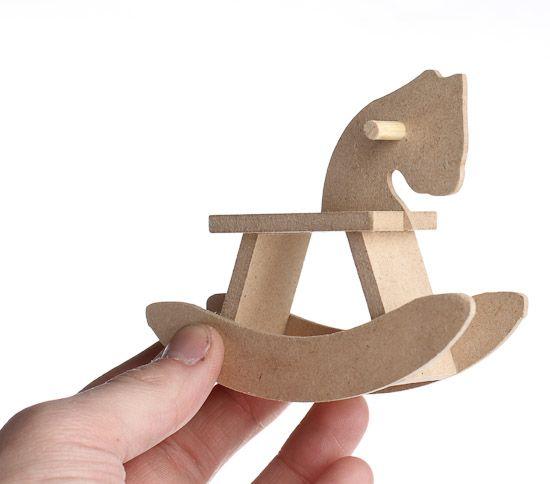 Rocking Horse Baby Shower Supplies | Miniature Wood Rocking Horses - 12pcs - Wood Miniature Items ...