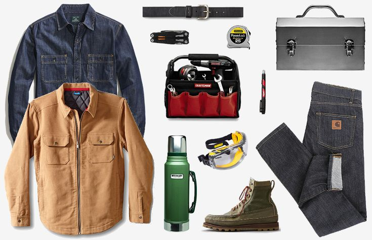 Carhartt Rebel Slim Jeans ($57). Stanley Classic Vacuum Thermos ($20). Nickel-Plated Aluminum Lunch Box ($79). Carhartt Journeyman Belt ($23). J.Crew Blue Factory Denim Workshirt ($50). Woodsman Quilted Jacket ($145). Filson PH Boot ($475). Craftsman 12-inch Tool Tote ($23). Milwaukee Inkzall Stylus & Marker ($8). Dewalt Concealer Clear Anti-Fog Dual Mold Safety Goggles ($10). Gerber MP1 Multi-Tool ($80). Stanley 25-Foot PowerLock Tape Rule with Blade Armor ($11).