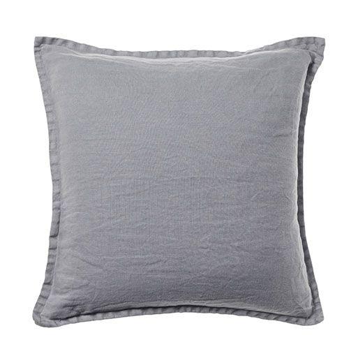 Belgian Vintage Washed Linen Seal Grey Cushion