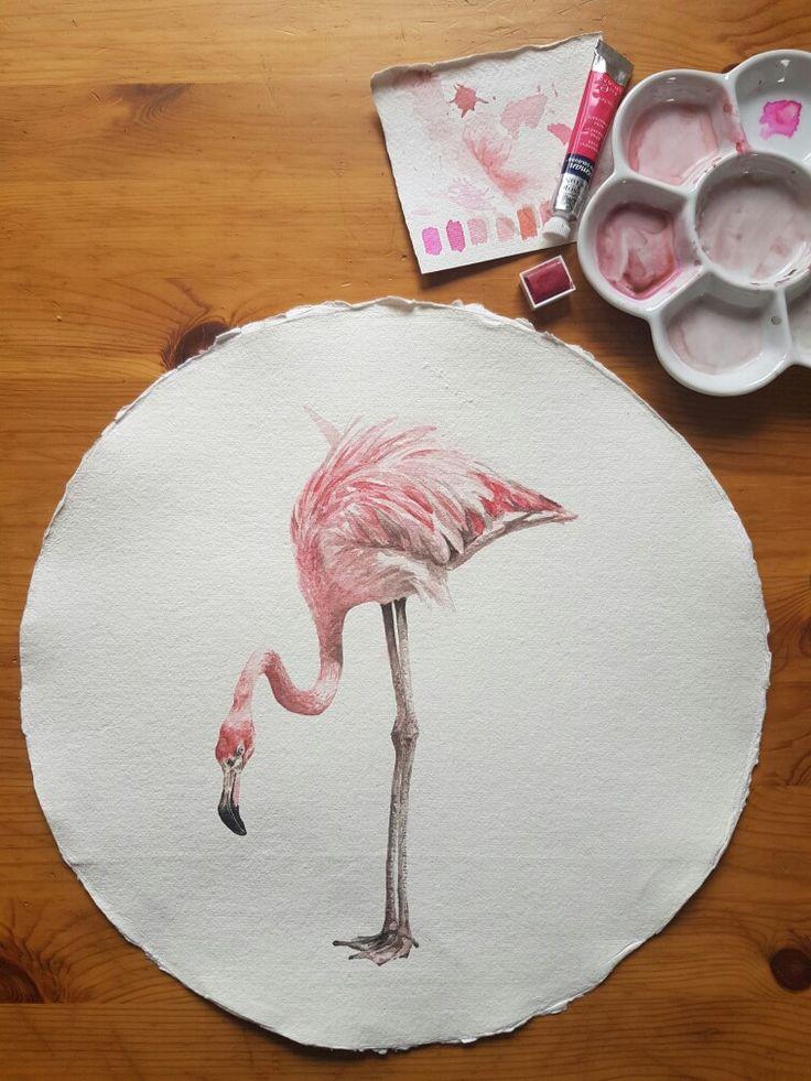 Original painting by Joanne Gross Art. #watercolour #pink #art #flamingo #affordableart
