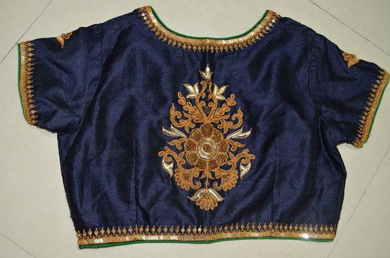 Royal navy blue designer blouse with Gujrati marodi by Sravams, $90.00