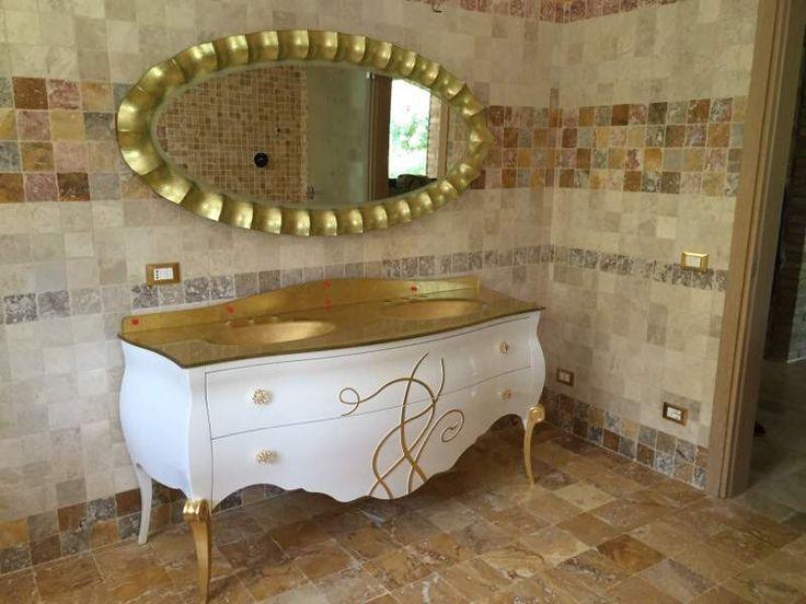 Mobile bagno doppio lavabo cristal oro swarovski lusso