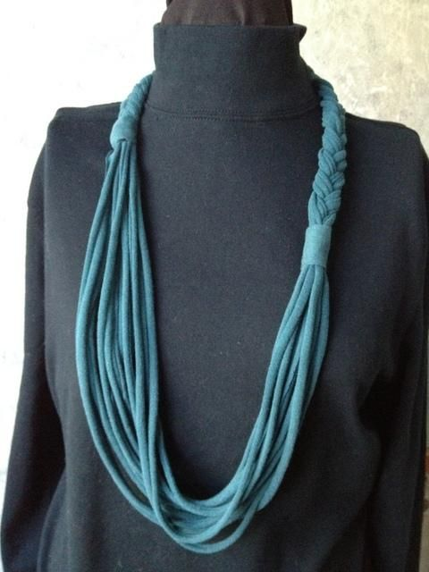 DIY Braided T-Shirt Necklace DIY Braided DIY Crafts I did sew