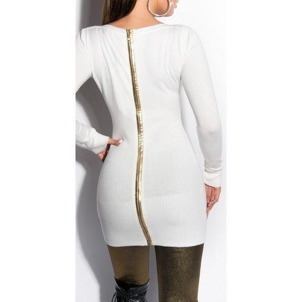 Predĺžený sveter/šaty so zipsom Cream
