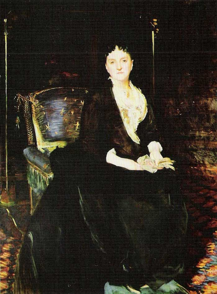 Mrs William Henry Vanderbilt (Maria Louisa Kissam) by artist John Singer Sargent (c. 1888). Among other Vanderbilt's, Sargent also painted the official family portrait of the 9th Duke of Marlborough with Consuelo (Vanderbilt), Duchess of Marlborough Vanderbilt, and their two sons John, Marquess of Blandford and Lord Ivor.