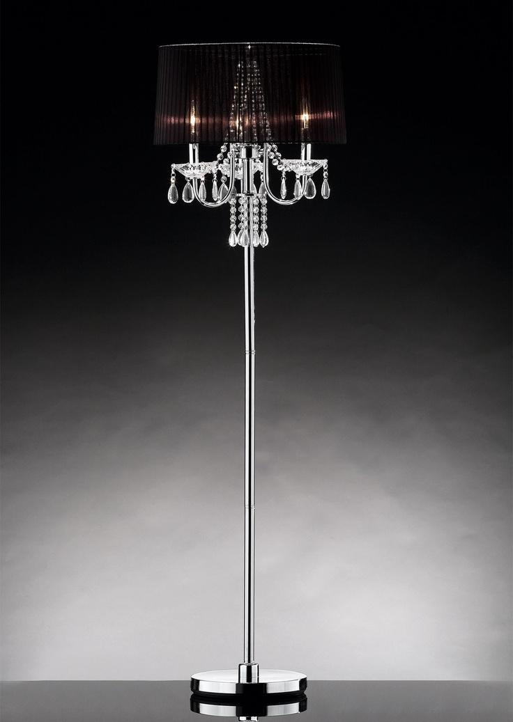 Ore furniture crystal drop 3 light floor lamp for 3 light crystal floor lamp