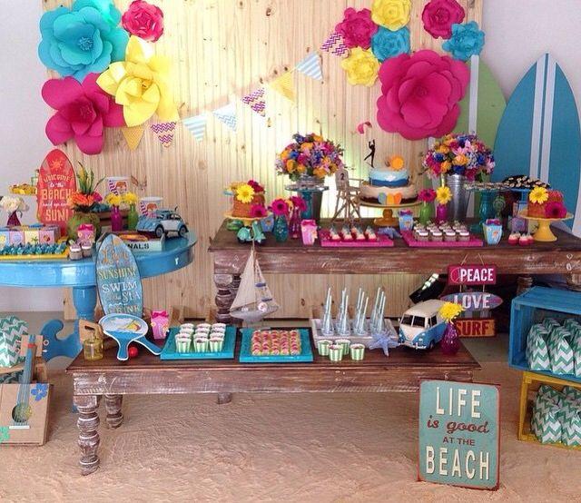 #decoração #surf #meninas #festa #aniversario #rosa #amarelo #mar #ideias