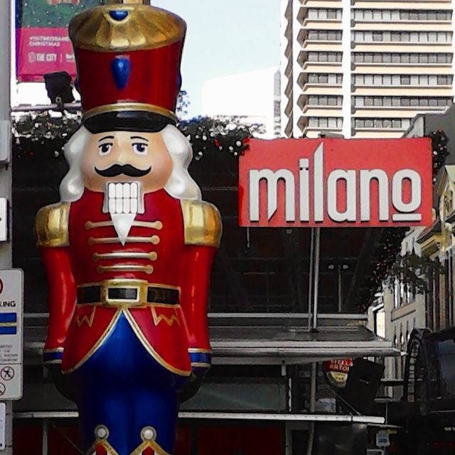The Nutcracker Solder stand to attention at the George Street end of the Queen Street Mall.