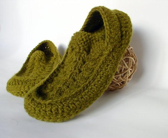 Men's Knit Crochet Socks/Slippers in Olive with by ShamrockArts, $35.00