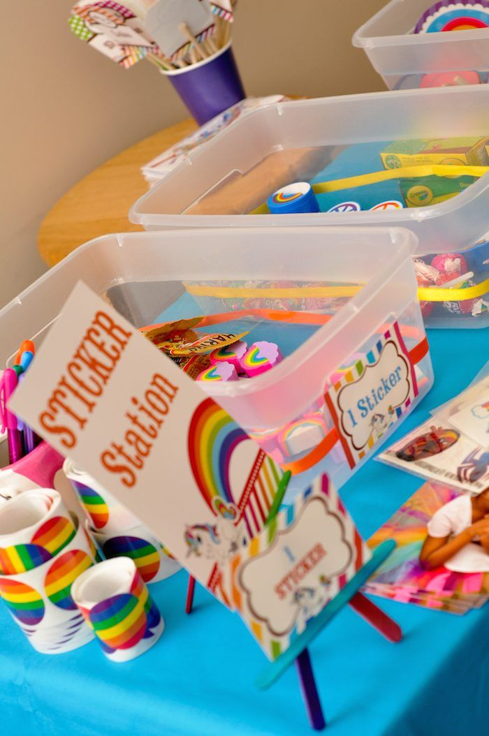 Tubs with materials in for each guest. Stickers, pom-poms, glitter, embellishments, sequins, gems, colours etc..
