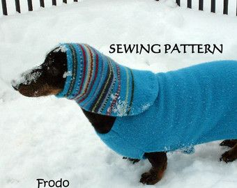 Felted lambswool dachshund coat baby blue soft warm por WarmWeenies