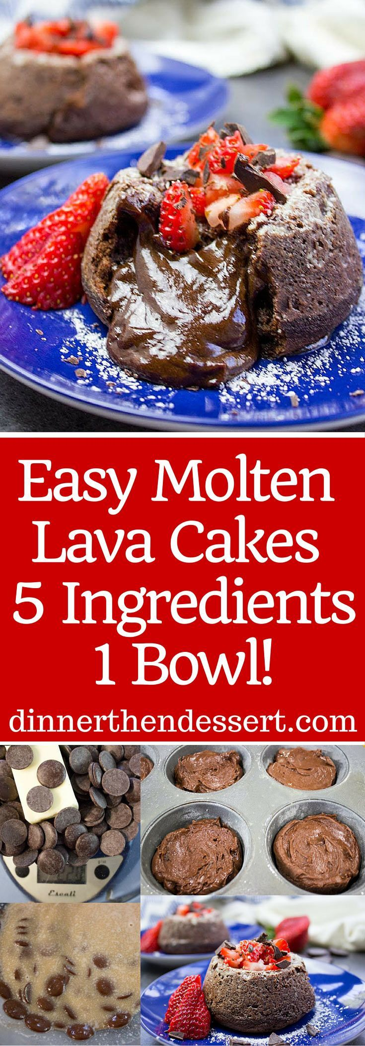 With only 5 Ingredients and 1 bowl these Easy Chocolate Molten Lava Cakes will be in your oven in less than 10 minutes and on your table in less than 30!
