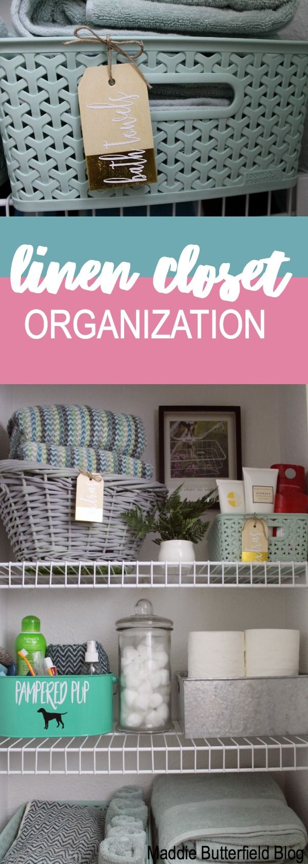 Small linen closet organization for towels, extra products, and bed sheets.