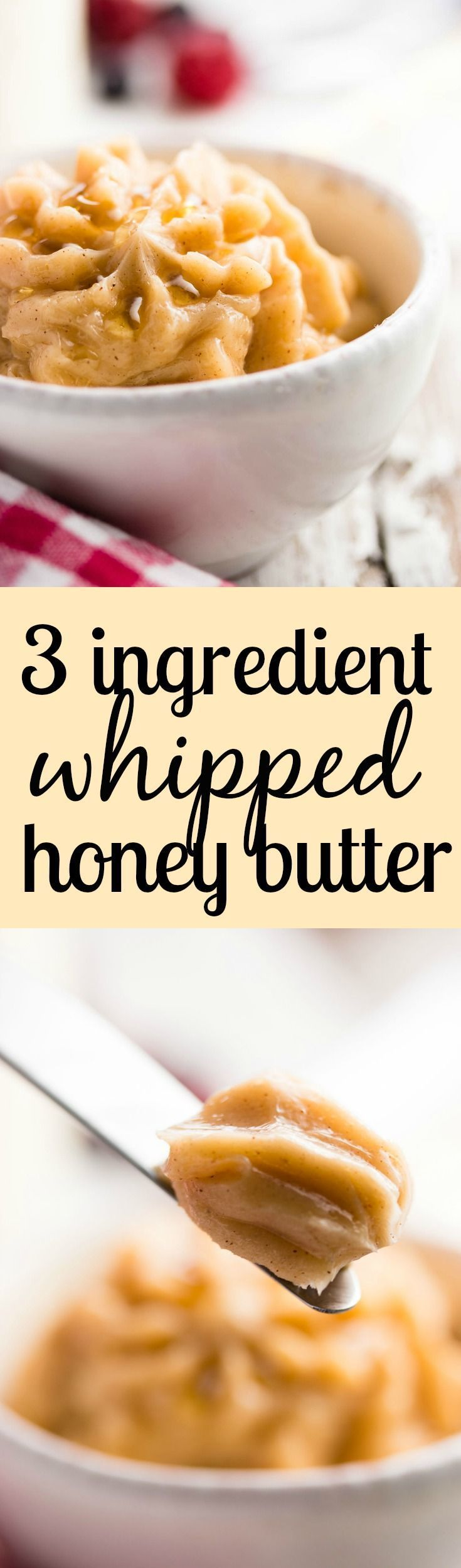 Ever wondered how to make homemade whipped honey butter? Its super easy and only needs three ingredients! My family loves this for weekend brunches! | savorynothings.com