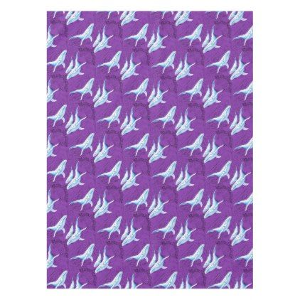 Blue Whales Family purple Tablecloth - vintage gifts retro ideas cyo