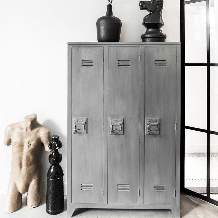 LOCKER STYLE STORAGE CABINET with Shelves in Grey Mango Wood