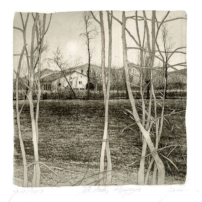 Livio Ceschin(Italian, b.1962)  Dalla Strada in Campagna2000  etching & drypoint