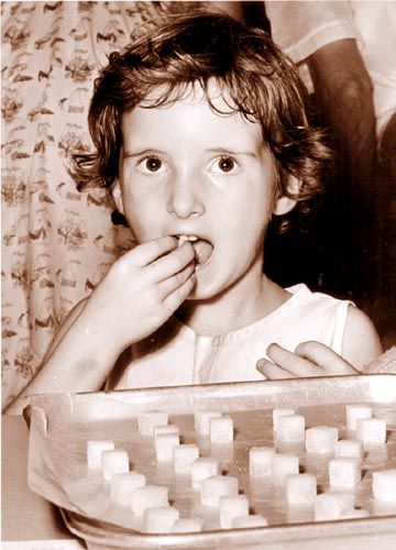 Polio sugar cube vaccine... thank you, Dr. Sabin, for improving on Dr. Salk's hypodermic vaccine! That thing hurt like hell! :'(