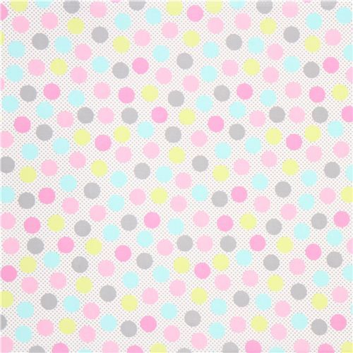 white polka dot fabric colourful pastel by Michael Miller