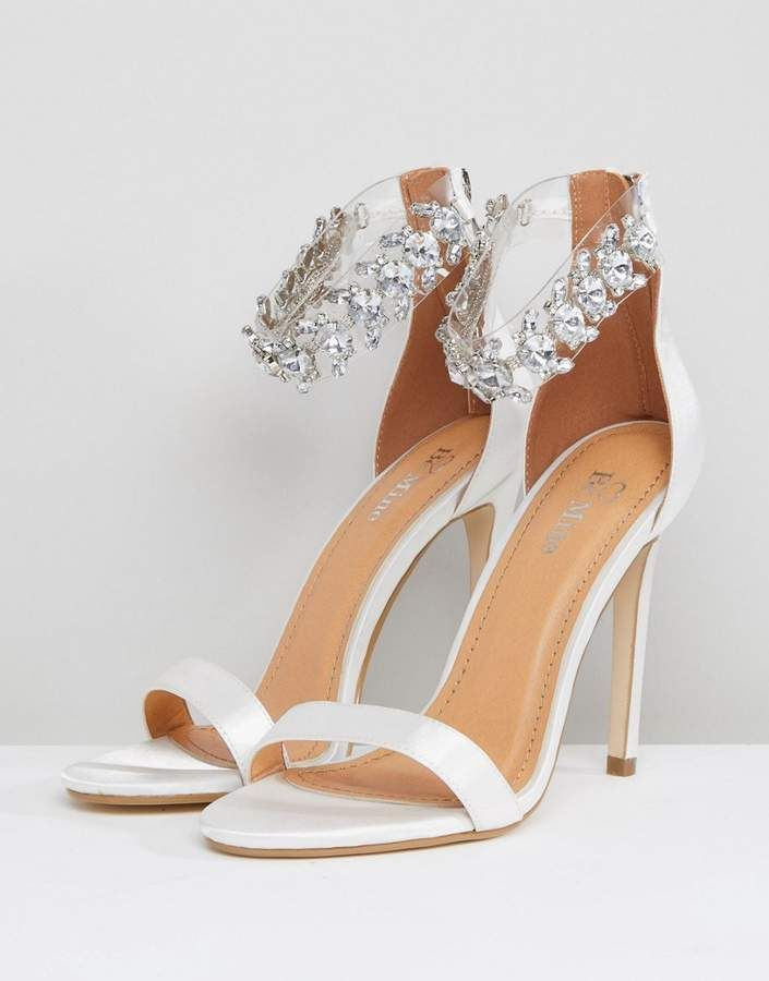 109cc5e9b69c Mae Be Mine Bridal Ivory Satin Embellished Ankle Strap Sandals  Ivory Satin  Mae