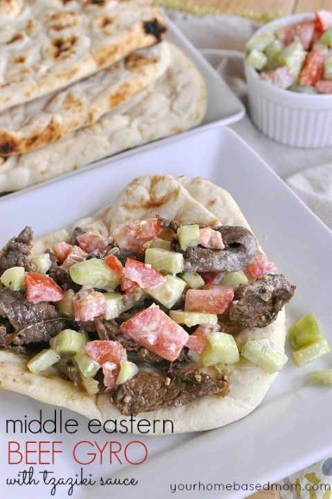 Middle Eastern Beef Gyro with Tzaziki Sauce