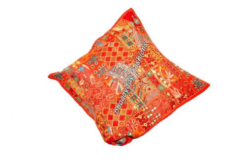 """Indian Decorative Traditional Patchwork Embroidery Throw Pillow Cover Ethnic 24"""""""