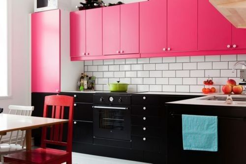 Hot pink kitchen cabinets. Pink and black. Contemporary. Modern. Girly. Inexpensive kitchen makeover. DIY. Colorful.