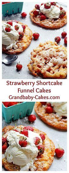 Strawberry Shortcake Funnel Cakes | Grandbaby-Cakes.com: