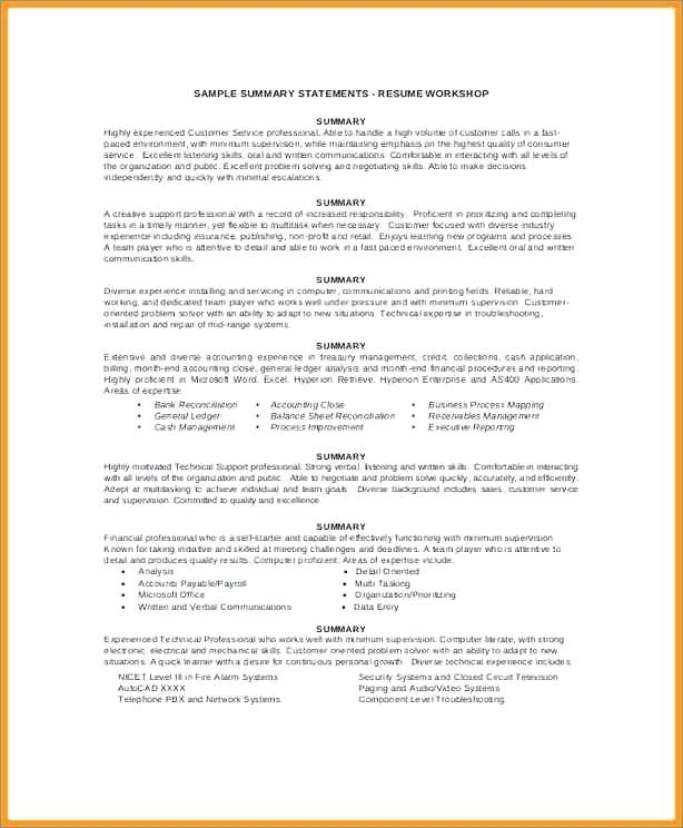 80 Unique Photography Of Resume Summary Statement Examples 2016