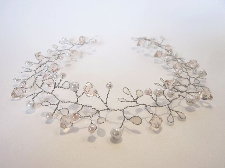 Isabelle Silver & Blush Hair Vine by MoiBespoke on Etsy