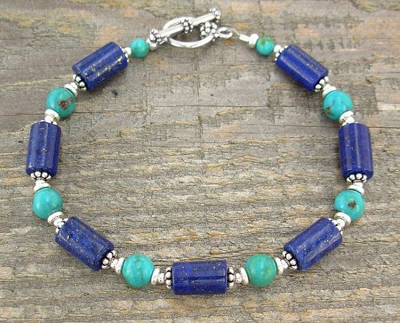 Lapis and Turquoise Bracelet with Sterling Silver Spacers in Plus Sizes