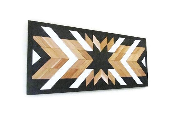 Wood Art, 50″, Reclaimed Wood Wall, Tribal, Large Wood Quilt Art, Geometric, Native American Style, Geometric Wood Art, Cottage Chic Art