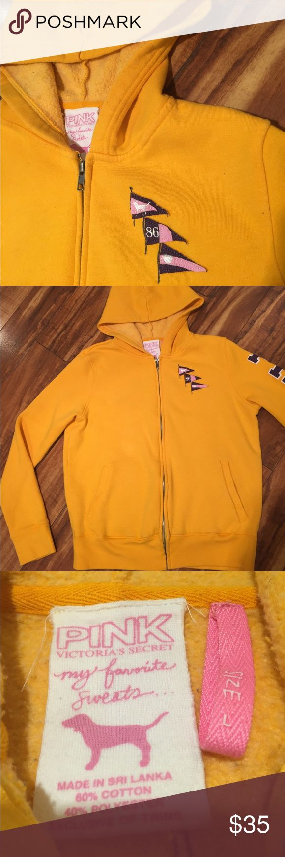 Victoria's Secret SS LOVE PINK zip up hoodie Yellow zip up hoodie by Victoria's Secret. SS LOVE PINK with sailing flags on back.  Some pilling on inside, small stain at back of hood which is not visible when worn. PINK Victoria's Secret Jackets & Coats