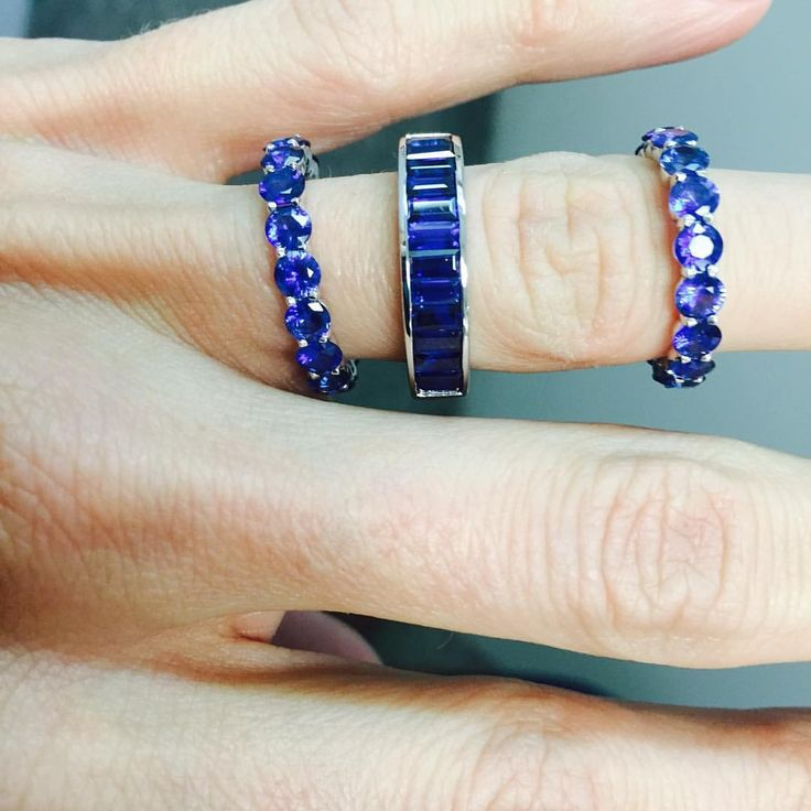 "115 Likes, 20 Comments - Alexandra Jules (@alexandrajules) on Instagram: ""Enamored with our newest round and mini baguette bands. #sapphires #baguettes #stackables…"""