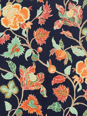 Floral fabric in tangerine, coral, sea green, aqua and white on a rich, dark navy blue background. See applications and additional color links