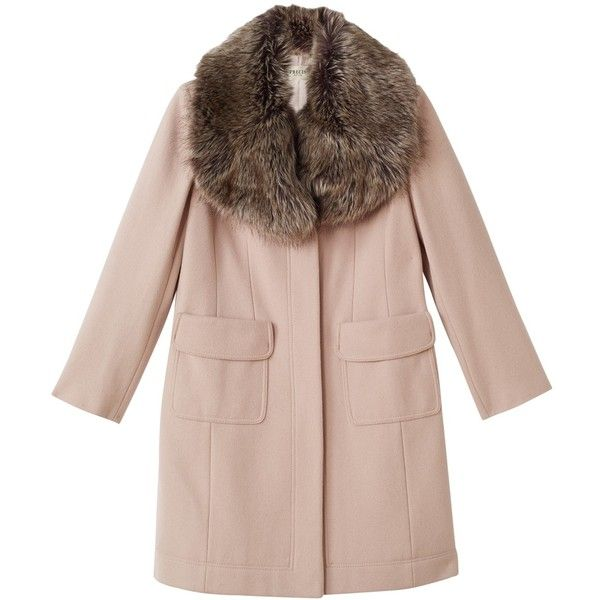 Precis Petite Stacy Faux Fur Collar Coat, Light Neutral featuring polyvore, women's fashion, clothing, outerwear, coats, petite, leather-sleeve coats, collar coat, precis petite, long sleeve coat and faux fur collar coat