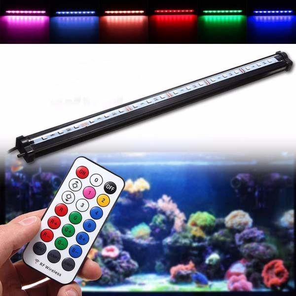 45CM RGB SMD5050 Rigid LED Strip Light Air Bubble Aquarium Fish Tank Lamp + Remote Control AC220V #AquariumLightsLED