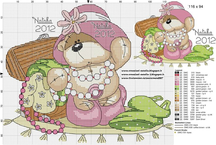 Bear playing dress you cross stitch