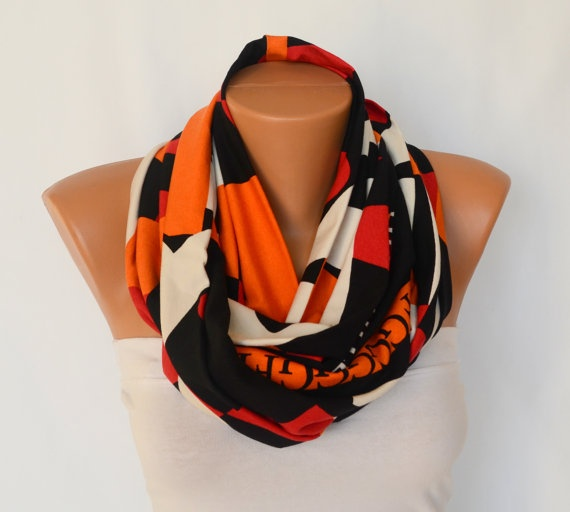 cotton jersey infinity scarf circle scarf winter scarf by