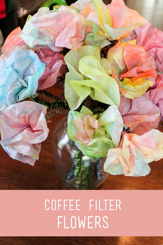 Colored Coffee Filter Flowers for Kids to Make
