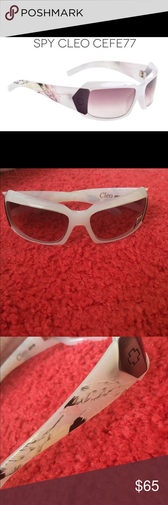 Spy sunglasses Cleo White feather Cleo sunglasses by Spy. ** Discontinued** Never worn. All original packaging, inserts and carrying bag. SPY Accessories Sunglasses
