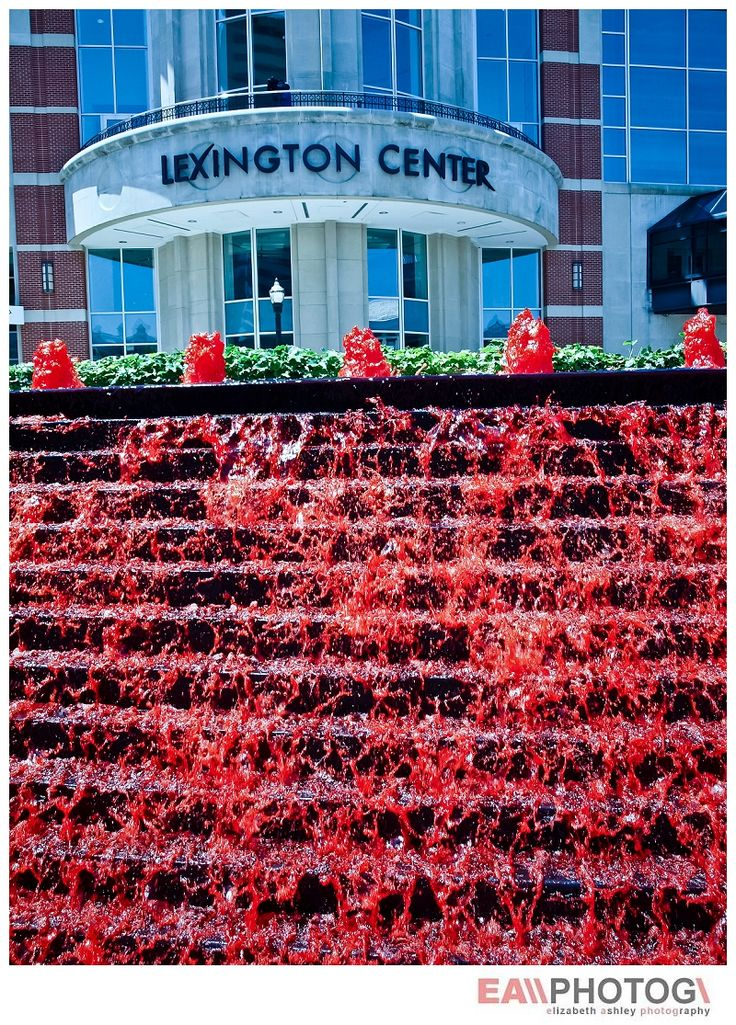 The Fountain at Triangle Park turns RED