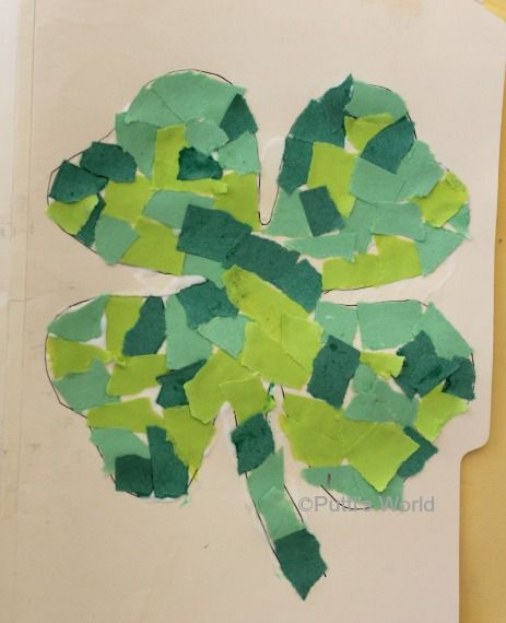 Shamrock Mosaics - easy St. Patrick's Day Kids Craft. Could also use leftover scrapbook paper. #stpatricksday