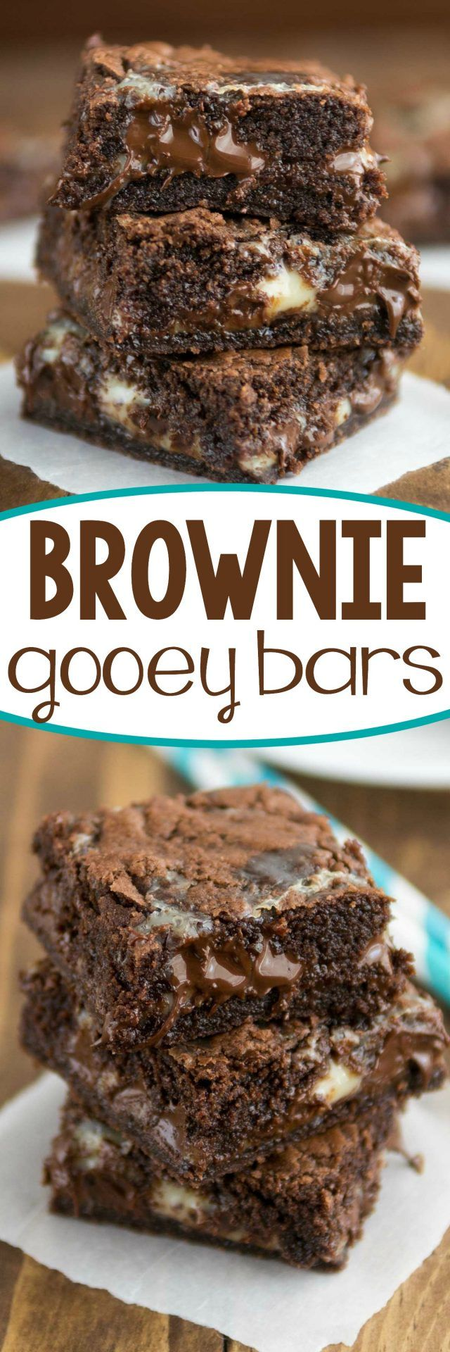 Easy Brownie Gooey Bars - this recipe is so good! Fudgy brownies are filled with gooey chocolate. We can never stop eating them!: