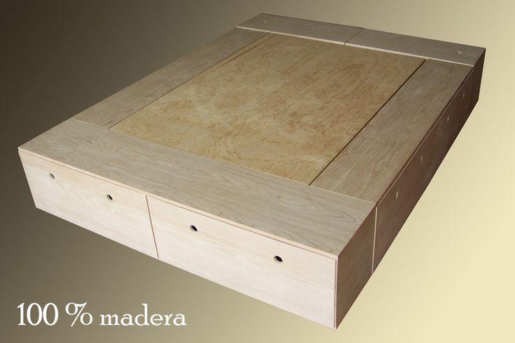 Base cama minimalista recamara colchon cajones for Cama minimalista