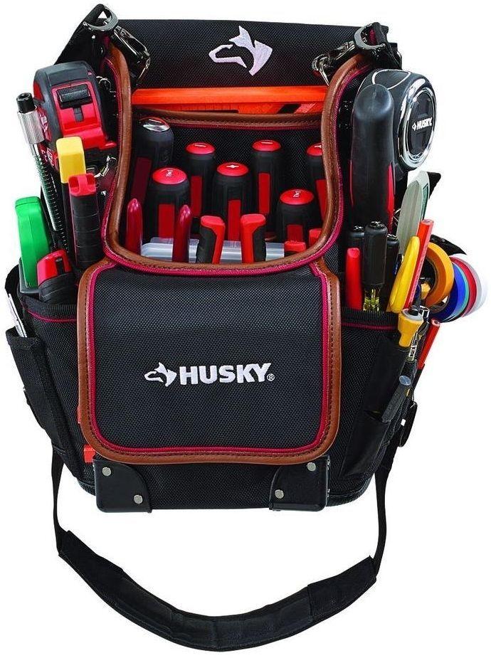 Husky 3-Pocket Hand Tool Pouch Tool Storage Organizer Bag Leather Lined Pockets #Husky