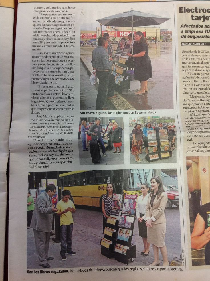 Newspaper article about the Christian ministry of Jehovah's Witnesses in Mexico. Oh - how I ♥being part of our worldwide brotherhood!! Matthew 24:14